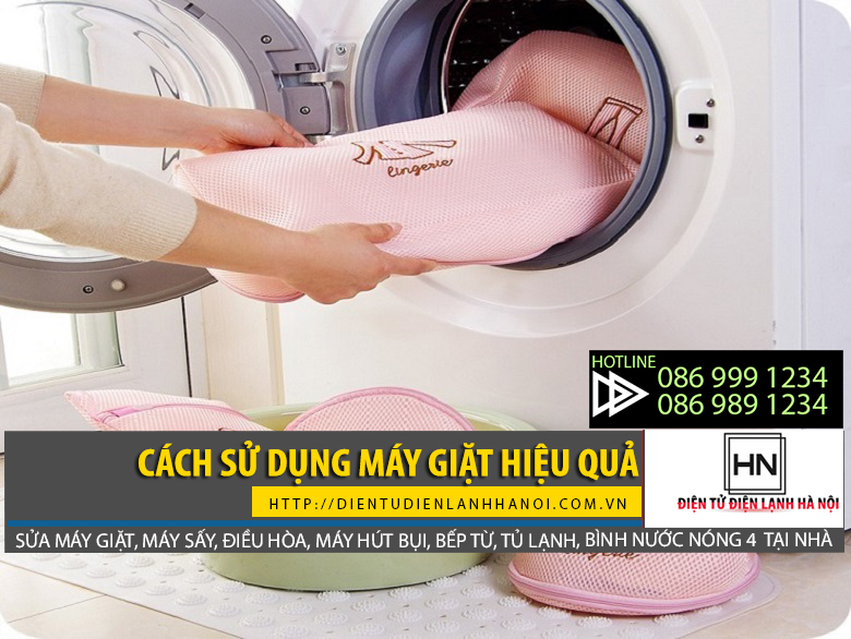 Để sử dụng máy giặt hiệu quả nên phân loại quần áo, dùng túi giặt cho loại quần áo dễ rách